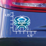 Baby On Board, Blue Crab, Car Sticker, 4.75x4.25, on a car