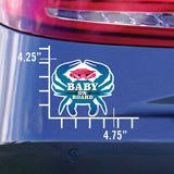 Baby On Board, Pink Crab, Car Sticker, 4.75x4.25, on a car