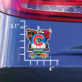 Chicago Sports Fan Crest Sticker, 4x5 size chart