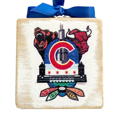 "Chicago Sports Fan Crest, Wooden 3x3"" Holiday Ornament with Satin Ribbon"