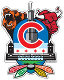 Chicago Sports Fan Crest Sticker, 4x5