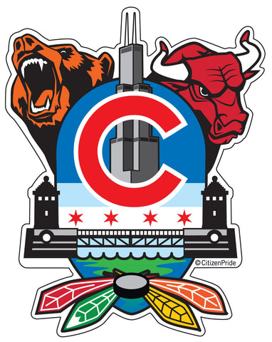 Chicago Sports Fan Crest, Large Decal