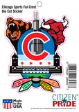 Chicago Sports Fan Crest Sticker card