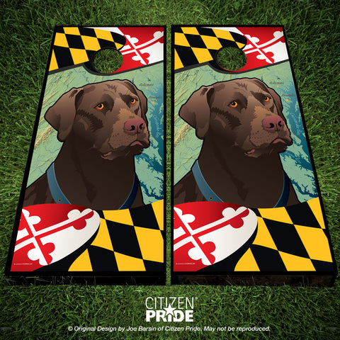 Maryland Chocolate Lab Cornhole Boards & Vinyl Skin Wraps, 24x48""