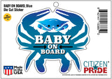 Baby On Board, Blue Crab, Car Sticker, 4.75x4.25, package