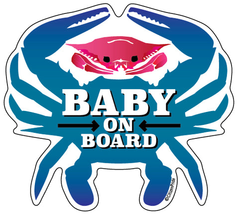 Baby On Board, Pink Crab, Car Sticker, 4.75x4.25