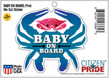 Baby On Board, Pink Crab, Car Sticker, 4.75x4.25, package