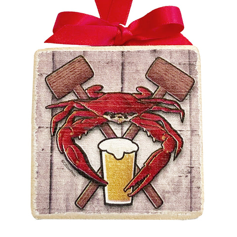 "Coastal Red Crab Feast Crest, Wooden 3x3"" Holiday Ornament with Satin Ribbon"