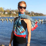 Coastal Crab, Fashion Chiffon Scarf, BLUE
