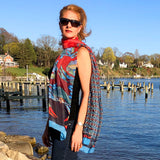 Coastal Crab, Fashion Chiffon Scarf, RED