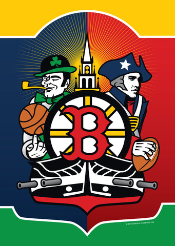 Boston Sports Fan Crest House Flag by Joe Barsin, 28x40