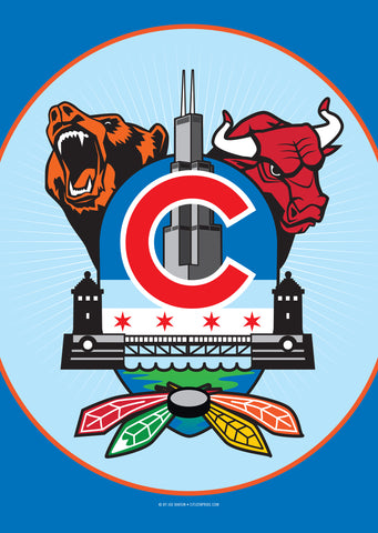 Chicago Sports Fan Crest House Flag by Joe Barsin, 28x40