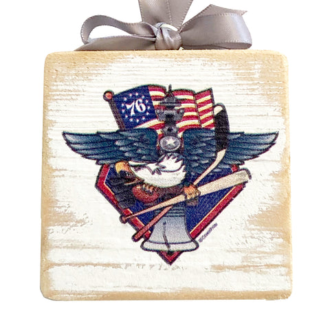 "Fly, Philly, Fly! Sports Fan Crest, Wooden 3x3"" Holiday Ornament with Satin Ribbon"