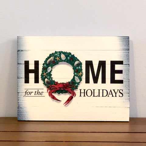 """Home for the Holidays"" Coastal Holiday Crab Wreath, Wooden Sign"