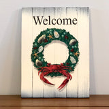 """Welcome"" Coastal Holiday Crab Wreath, Wooden Sign, 8.75 x 11.75 x 1"""