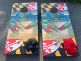 Ready for pick-up - Maryland Blue Crab Cornhole Board Set!