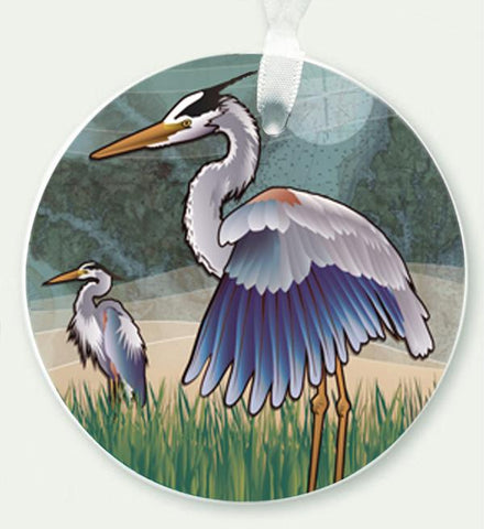 "Coastal Blue Herons Ceramic 3"" Circle Ornament"