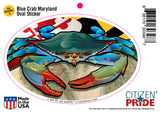 Maryland Blue Crab Oval Sticker, 6x4 card