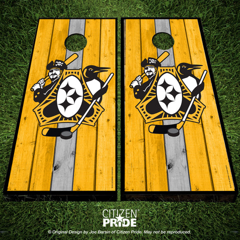 Pittsburgh Three Rivers Roar Sports Fan Crest Cornhole Boards, 24x48""