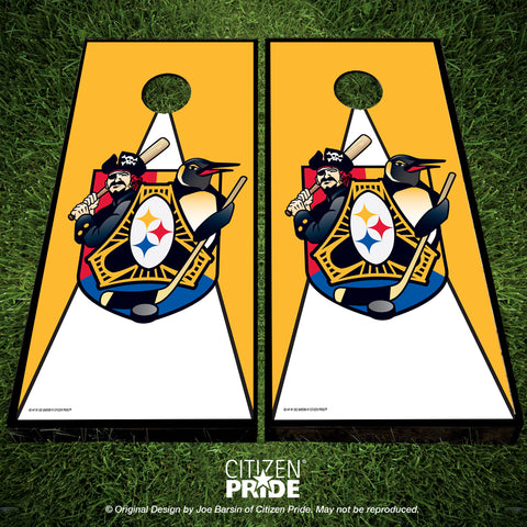 Pittsburgh Sports Fan Crest Cornhole Boards, 24x48""