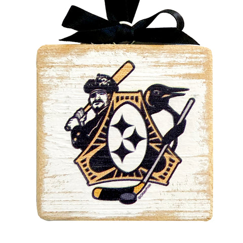 "Pittsburgh Sports Fan Crest, Wooden 3x3"" Holiday Ornament w/ Satin Ribbon"