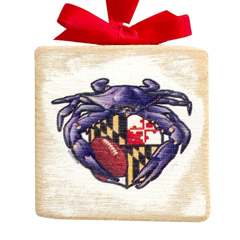 "Raven Crab Football Maryland Crest, Wooden 3x3"" Holiday Ornament with Satin Ribbon"