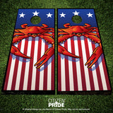 USA Steamed Blue Crab Cornhole Boards & Vinyl Skin Wraps, 24x48""