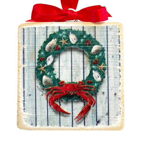 "Coastal Holiday Crab Wreath, Wooden 3x3"" Holiday Ornament with Satin Ribbon"