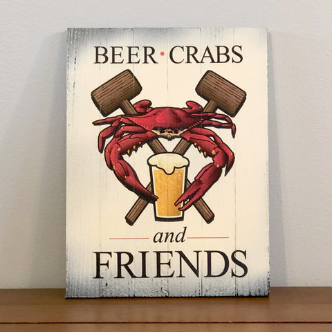 """Beer, Crab, and Friends"" Steamed Blue Crab w/ Mallets, Wooden Sign"