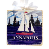 "Annapolis Red Sailboat Coastal Wooden 3x3"" Holiday Ornament with Satin Ribbon"