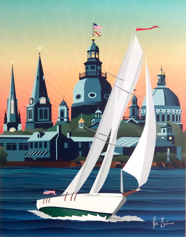 Schooner Woodwind Chesapeake Bound art print