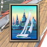 Schooner Woodwind: Chesapeake Bound Canvas / Framed with Silver, Wooden Frame to 12x16