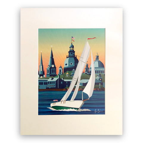 Schooner Woodwind: Chesapeake Bound Art Print 11x14 Matted to 16x20 by Joe Barsin