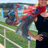 Coastal Crab, Fashion Chiffon Scarf, RED, 25 x 77""