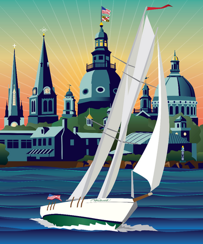 Schooner Woodwind: Chesapeake Bound Lg. Canvas Print by Joe Barsin, 40x48x1.5