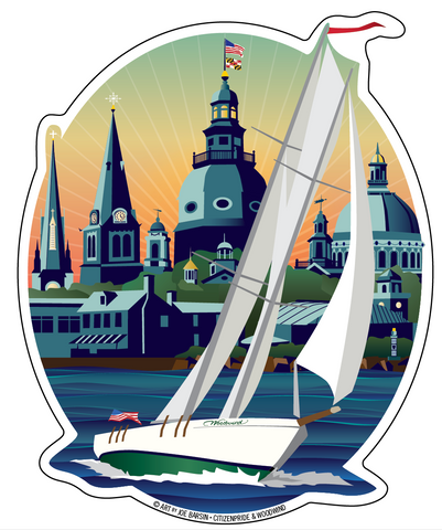 Schooner Woodwind: Chesapeake Bound Die Cut Sticker, 4.5x5.5 by Joe Barsin