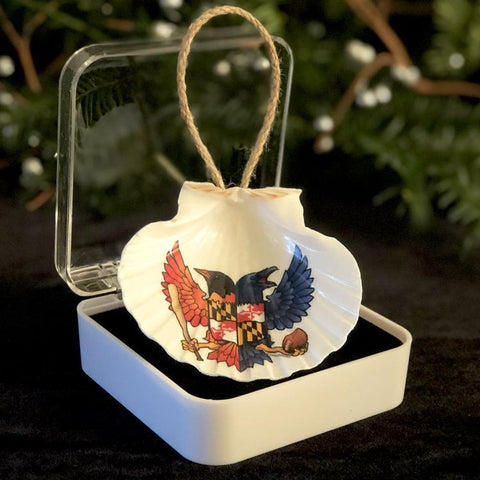 "BIRDLAND Maryland 3.5"" Shell Ornament, Ready to Hang with Gift Box"