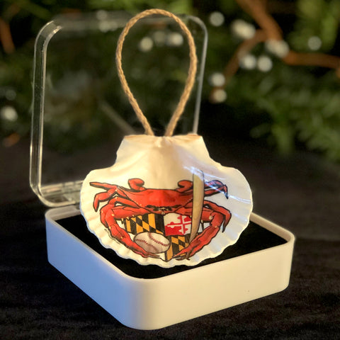 "Oriole Sports Crab, 3.5"" Shell Coastal Ornament, Ready to Hang with Gift Box"