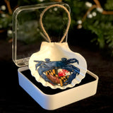 "Ravens Sports Crab, 3.5"" Shell Coastal Ornament, Ready to Hang with Gift Box"