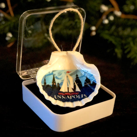 "Coastal ""Annapolis"" Red Sail Boat, 3.5"" Shell Ornament, Ready to Hang with Gift Box"
