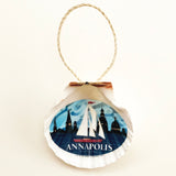 "Coastal ""Annapolis"" Red Sail Boat, 3.5"" Shell Ornament, Ready to Hang"