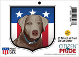 US Silver Lab Crest Sticker, die cut vinyl