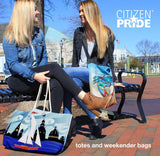 Citizen Pride tote bag fans in Annapolis at City Dock
