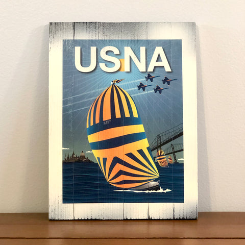 """USNA"" High Noon Sailing in Chesapeake Bay, Wooden Sign, 8.75 x 11.75 x 1"""