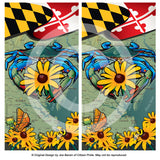 MD Blue Crab Black-Eyed Susan Cornhole Board Vinyl Skin Wraps, 24x48""