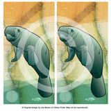 Coastal Manatee of Florida Cornhole Board Vinyl Skin Wraps, 24x48""