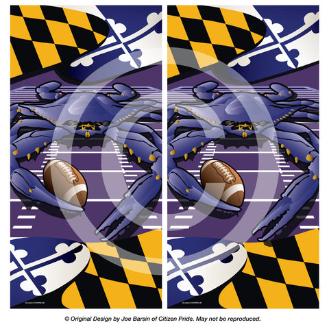 Ravens Sports Crab of Baltimore Cornhole Board Vinyl Skin Wraps