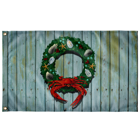 "Coastal Holiday Crab Wreath, Large Flag, 60 x 36"" with 2 grommets"