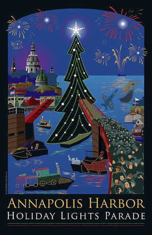 Annapolis Holiday Lights Parade - Festival Art Print
