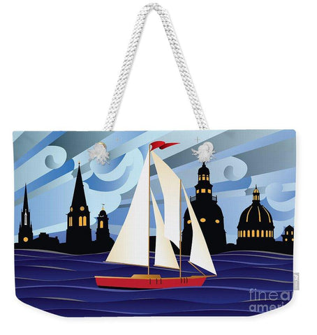 Annapolis Skyline Red Sail Boat - Weekender Tote Bag